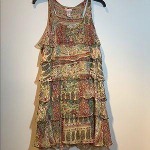 Tan multicolored ruffle dress
